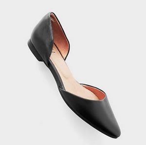J. Jill black leather pointed toe D'Orsay flats